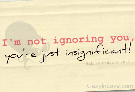 I Am Not Ignoring You