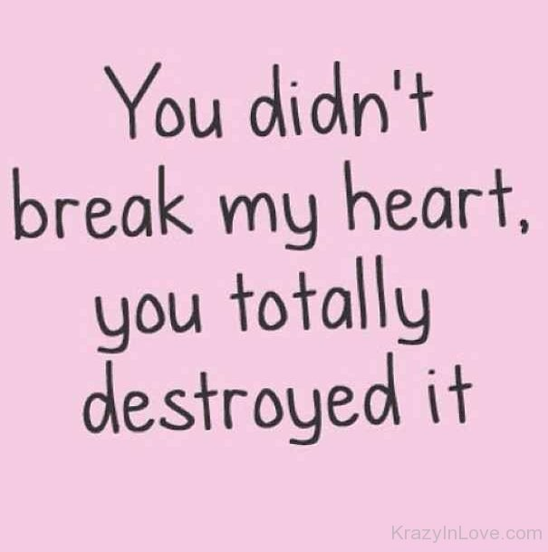 You Didnt Break My Heart You Totally Destroyed It