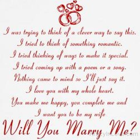 I Want You To Be My Wife Will You Marry Me
