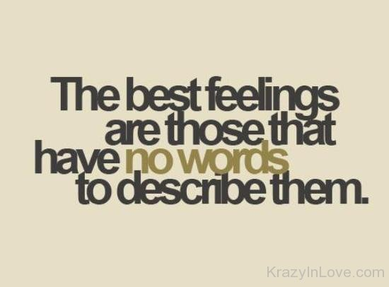 The Best Feelings Are Those That No Words To Describe Them