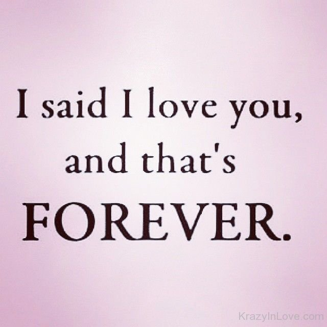 I Said I Love You That's Forev...