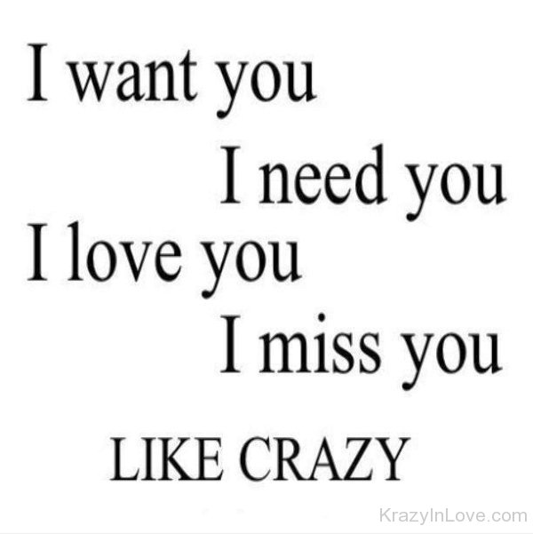 I Want Youneed Youlove You And Miss You